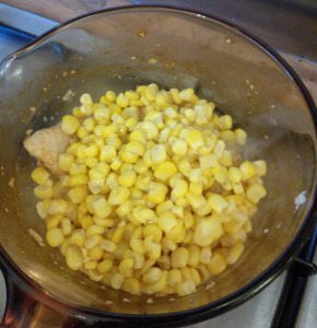 2. now add tin corns in same pan and cook on high heat with chicken ,for 5 minutes or until all juices clear. set a side ,let it cool.