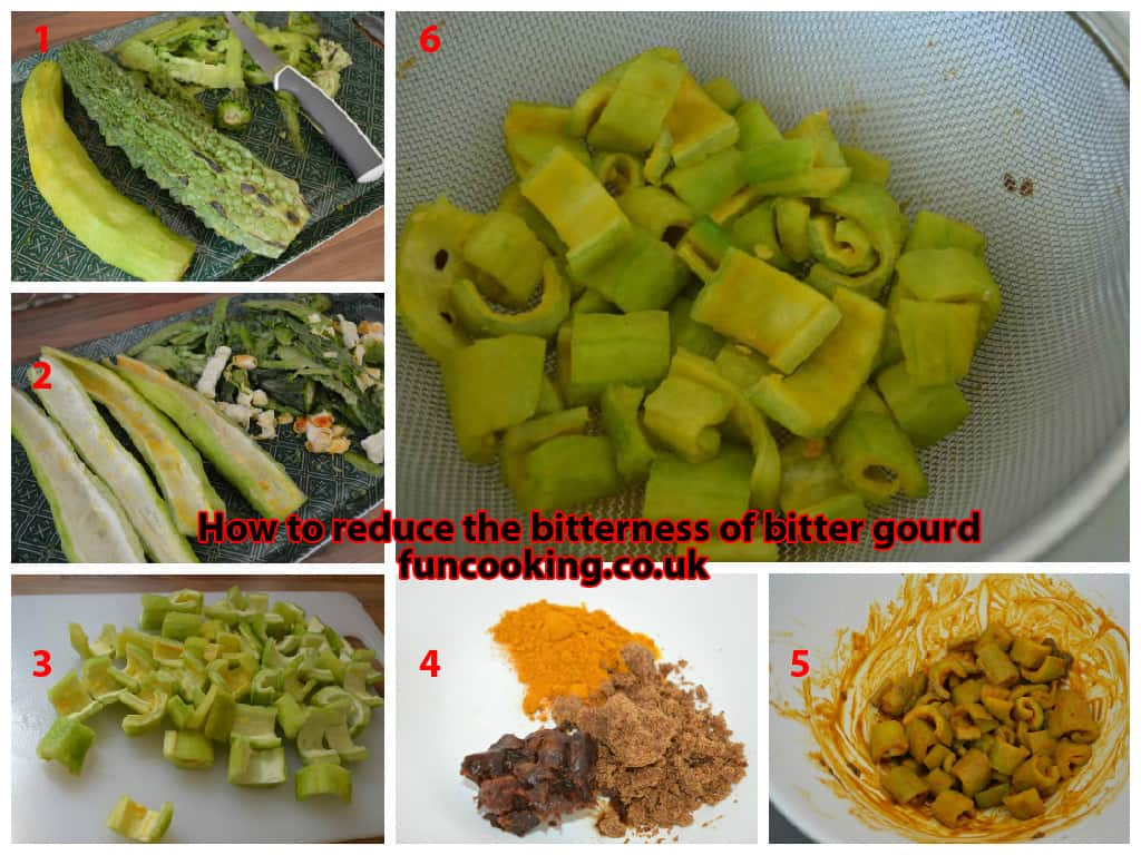 1. Take 500 gm bitter gourd, peel them. 2. take out the seeds. 3. cut in desired shape. 4. mix salt, turmeric, tamarind, brown sugar. 5. rub on bitter gourd well. leave it for 20-30 minutes. 6. wash it properly rubbing with your hands.