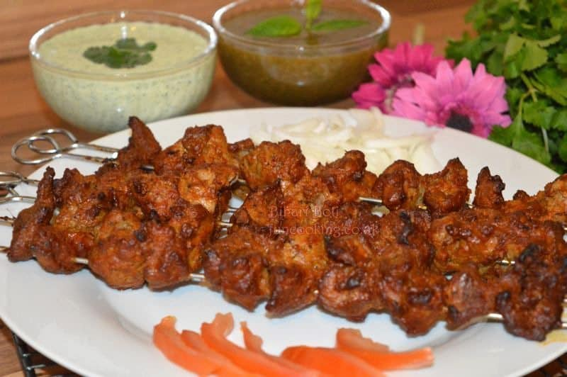 Bihari Boti is ready, i am serving it with 2 chatni/dips.... you can make any 1 of your choice. You can see both Chatni/Dip recipe links above in ingredients list.