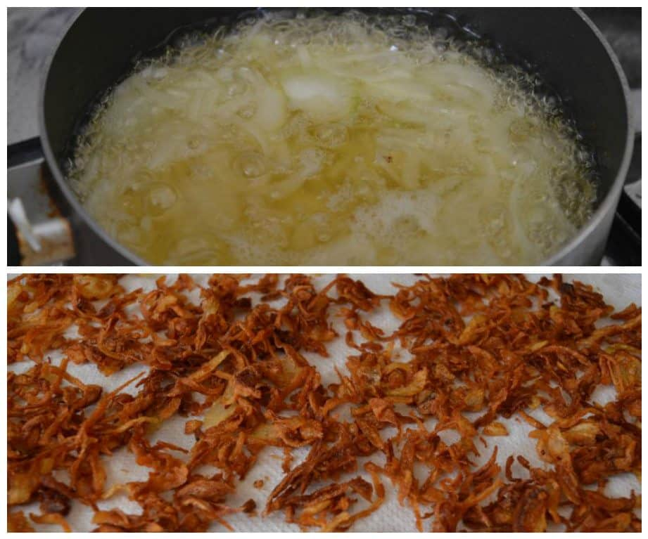 1. Take 3 onions ,finely slice them ,fry them on medium heat until crispy and brown.... take out...let them cool... save 1/4 for end layering rice(dum)...crush with hands the remaining onions...set a side.