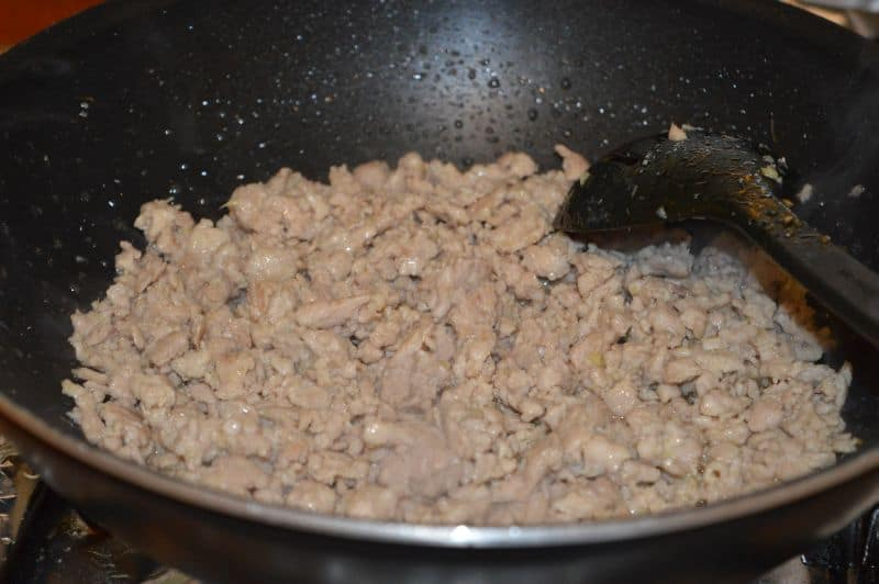 9. stir it until all extra juices from chicken evaporate, this will take almost 10 minutes...and because it is chicken mince ,it will cook in this time, but if you feel its still raw, turn the heat low and let it cook some more.
