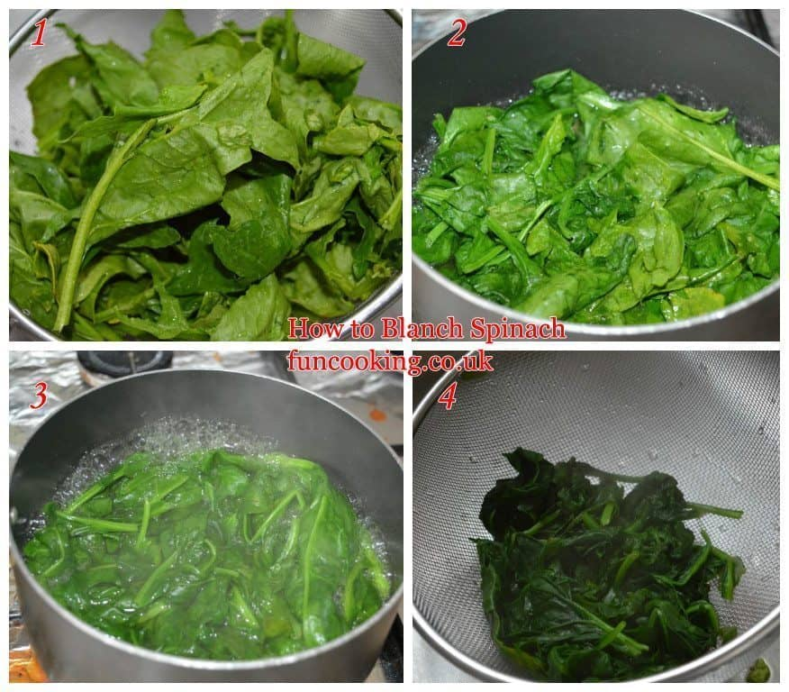 1. Take Spinach, separate leaves from stems, but keep some part of stem with leaves. Now wash them. 2. Now take a pan add water, let it boil , add washed spinach. 3. Let it boil for 3-4 minutes. 4. Drain all water.Let the spinach cool in sieve. Then chop it and use it. Note.... I saw many people keep spinach in cold water after draining it, thats the wrong way just drain it and let it cool it will save its nutritional value and taste.