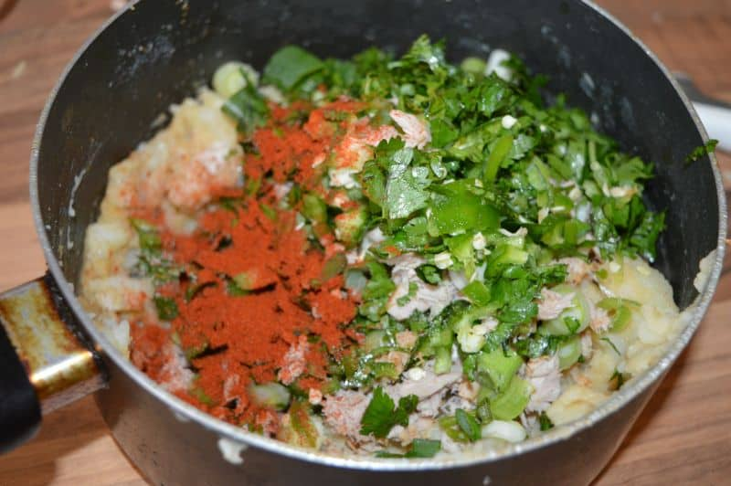 5. Add all chopped ingredients in it with salt and paprika.
