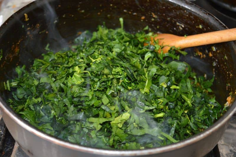13. Now add spinach...and again bhunnao it.