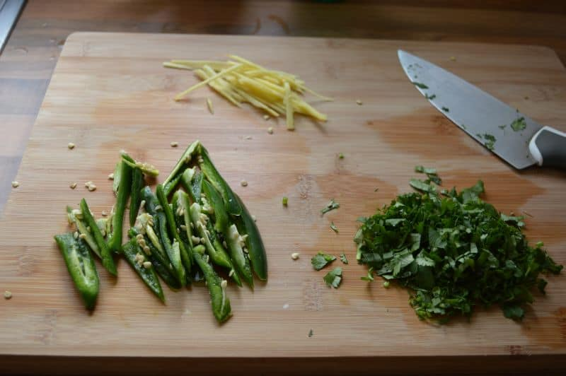 4. Cut green chilies ,ginger in julian,chop fresh coriander, set them aside.