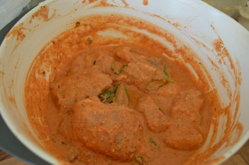 1. Add chicken and all list 1 ingredients in a bowl....marinate this for almost 1/2 hour.