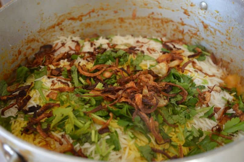 16. now add remaining chopped coriander and mint with fried onions.