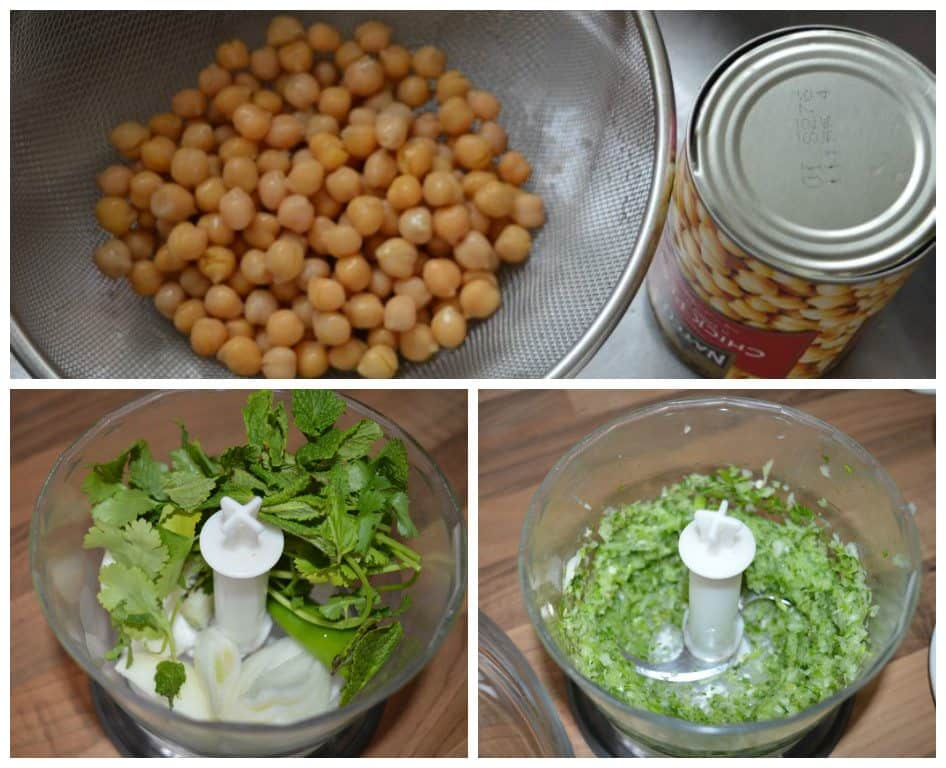 1. Take chickpeas can....throw all water...dry them nicely with paper towels. 2. In a chopper add onion, green chili, fresh coriander, mint. 3. Chop them fine. take out in a bowl.