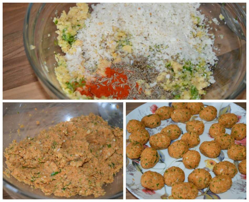 4. Now chop bread slice, take out in bowl. 5. chop chickpeas in same chopper...take them out. 6. gather all chopped ingredients in a bowl, add salt, red chili powder, cumin whole. 7. Mix well . 8. make very small balls.