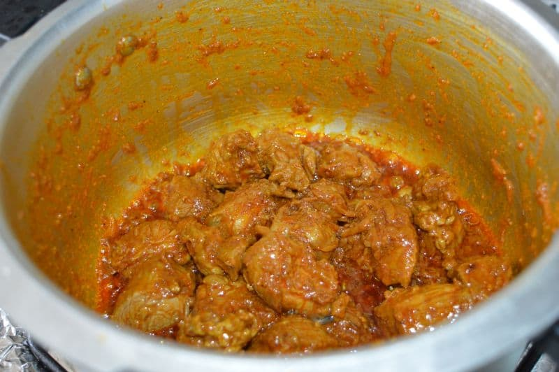 6. Stir it for 4-5 minutes...do not burn the spices, if you feel its burning add some water and again stir it.