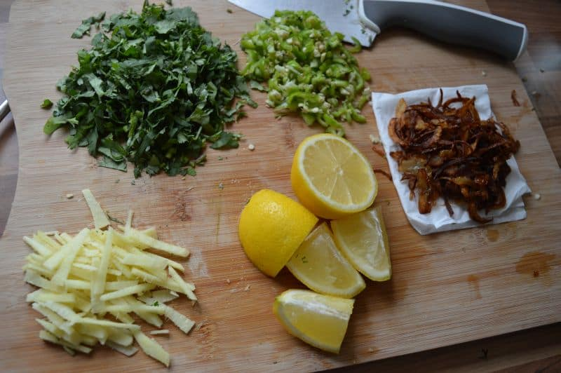 12. Chop all garnishing ingredients, julian cut ginger, use freshly fried onions.