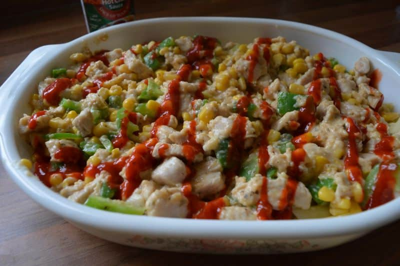 chicken and corn pasta bake