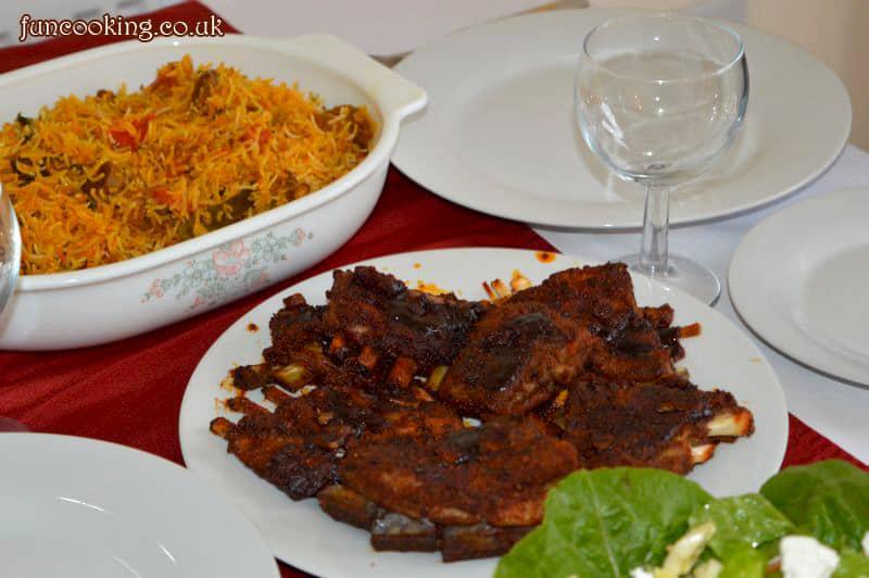 Mutton ribs and biryani
