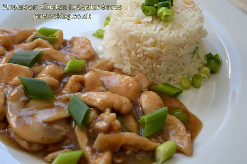 Mushroom Chicken in oyster sauce garlic rice  Serve hot .