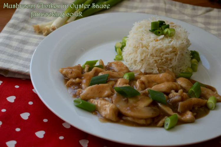 Mushroom Chicken in oyster sauce with garlic rice