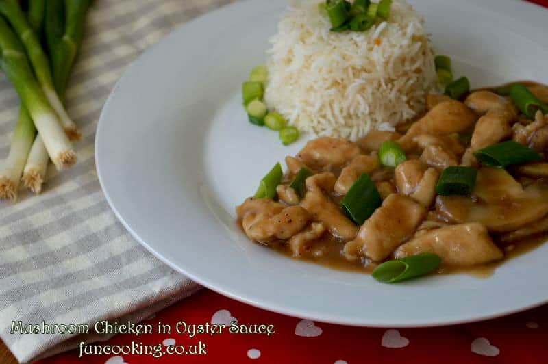 Mushroom Chicken in oyster sauce garlic rice