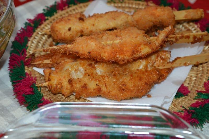 Crispy fish on sticks