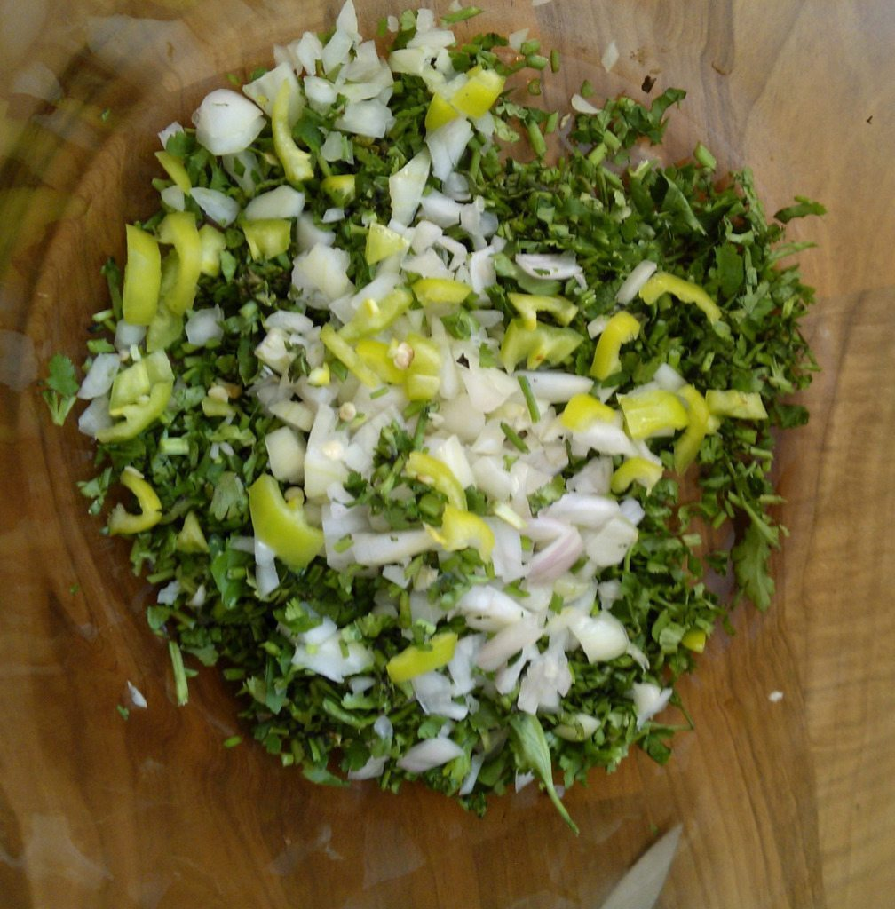 2.boil potatoes,chop coriander,onion and green chili