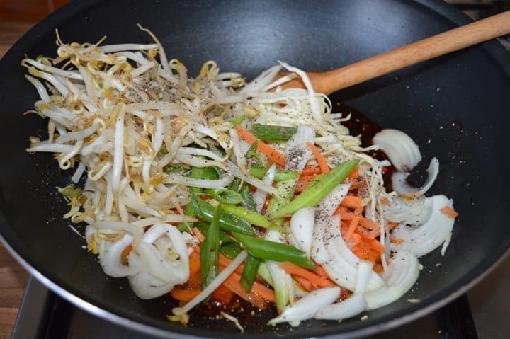 7. now add all vegetables with salt and black pepper, stir well for 1 minute on high heat.