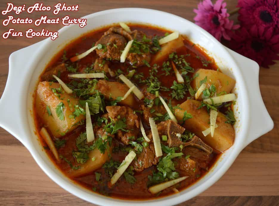 potato meat curry is ready, garnish it with coriander and ginger.
