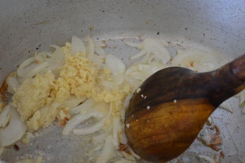 11. Add ginger and garlic paste. stir for 30 seconds.