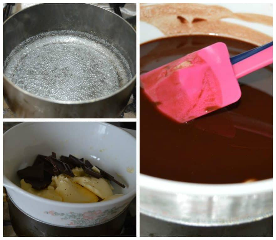 3. Take a pan ,fill it half with water, let it boil, when it starts to boil, keep that butter and chocolate pan on it, stir it until completely melted.