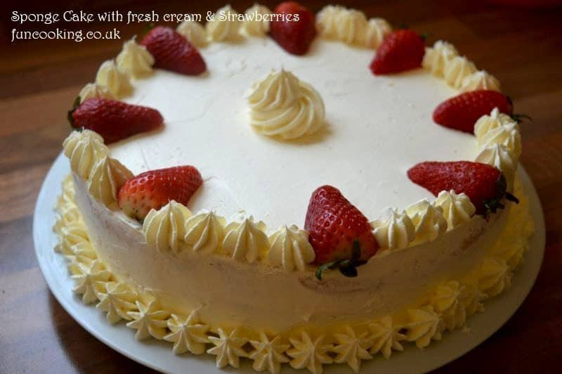 sponge cake with fresh cream and strawberries