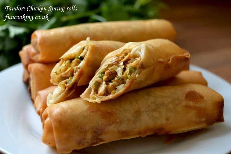 Tandori chicken spring rolls
