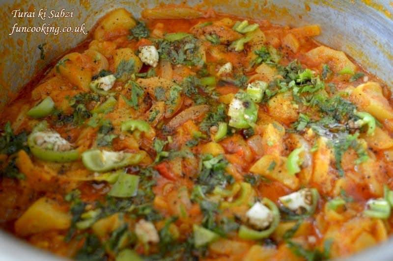 turai ki sabzi/courgettes/zucchini