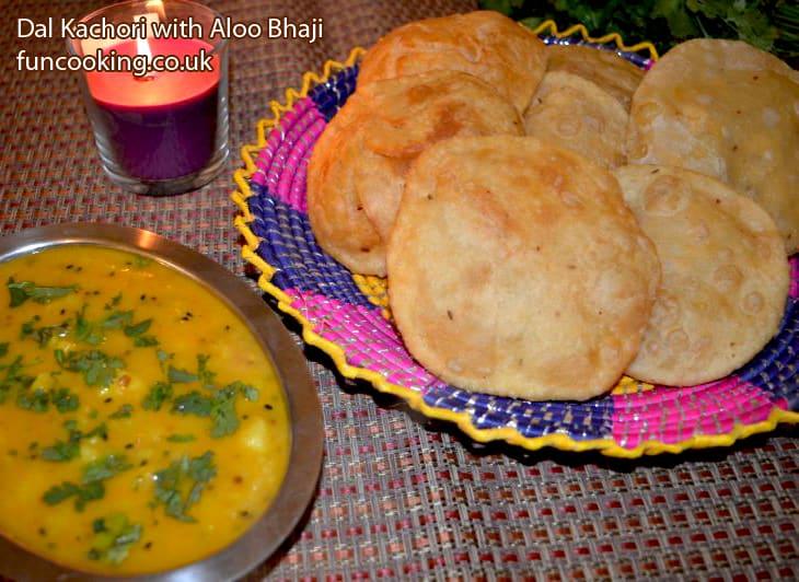Dal kachori with potato curry