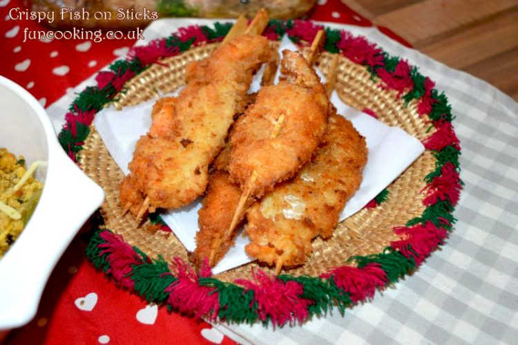 Crispy fish on sticks