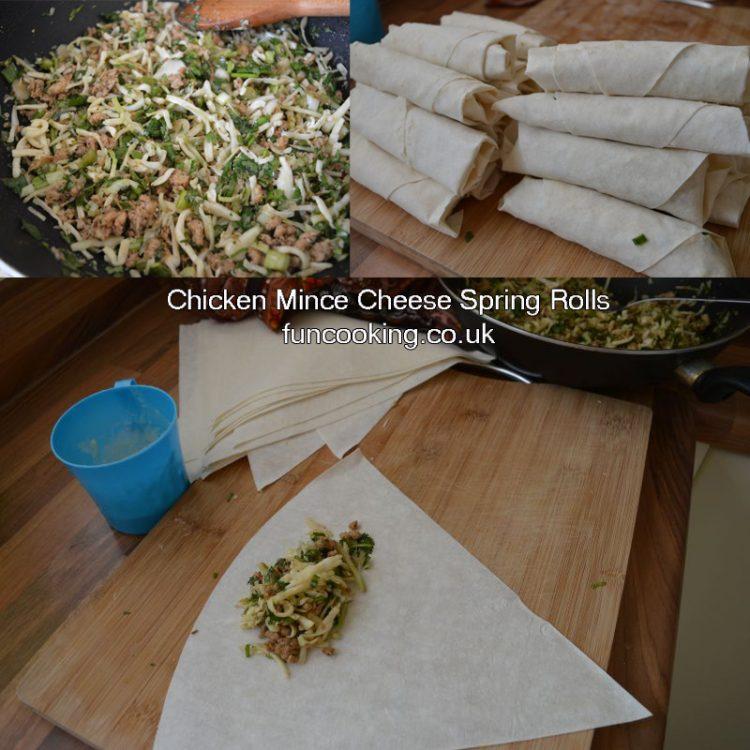 Chicken mince cheese spring rolls