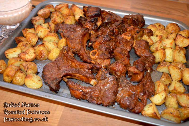 Baked mutton with roasted potatoes