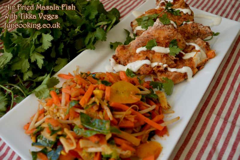 air fried masala fish tikka veges