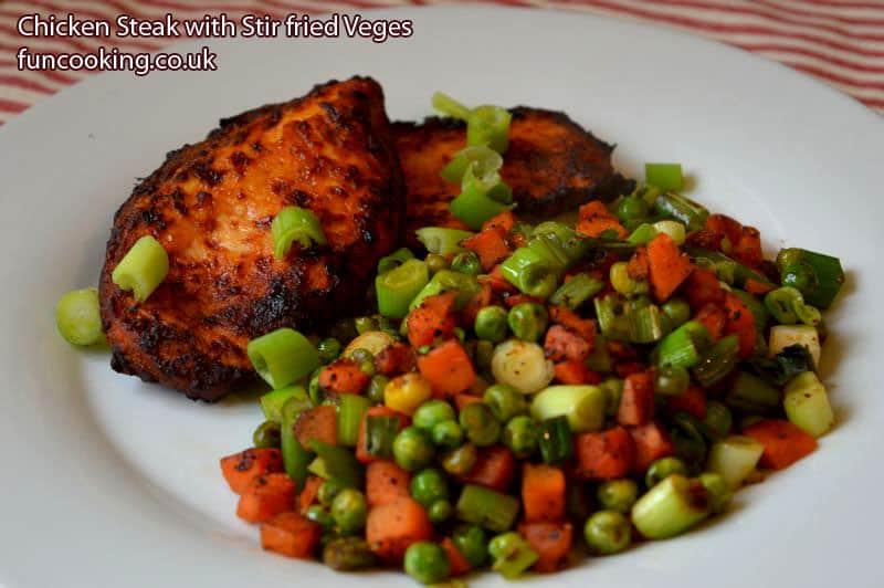 Chicken steak stir fried vegetables air fryer