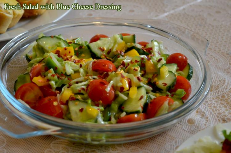 Fresh salad with blue cheese dressing