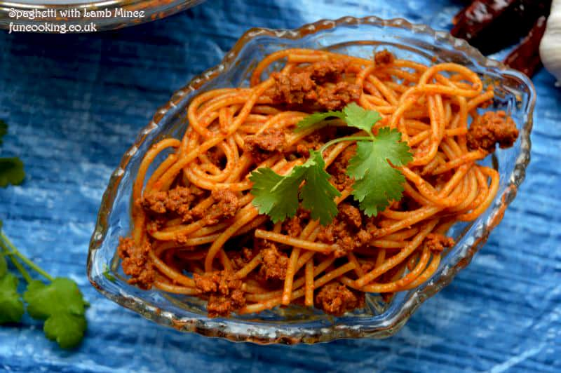 Spaghetti with lamb mince