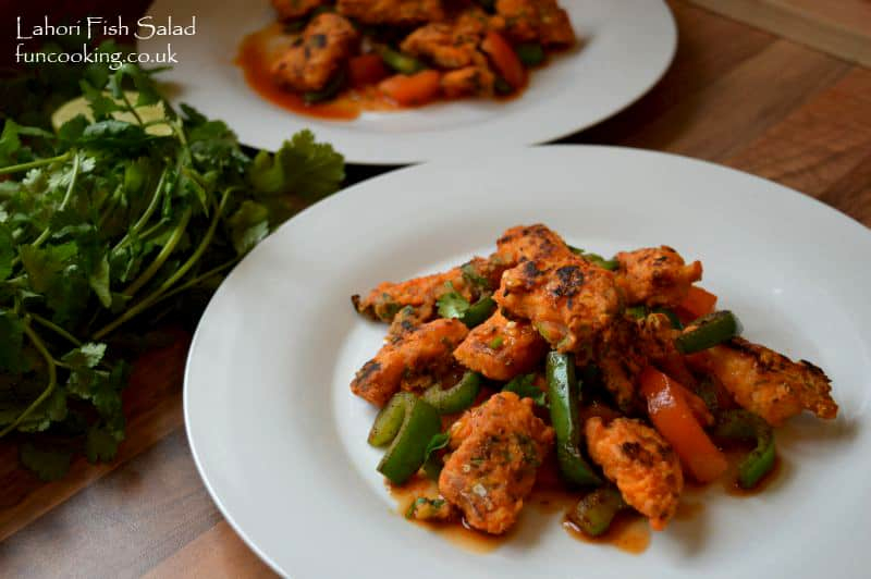 Lahori fish salad with tomato capsicum and chili lime dressing